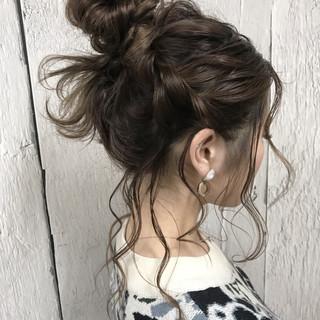 簡単ヘアアレンジ ロブ ナチュラル 結婚式 ヘアスタイルや髪型の写真・画像