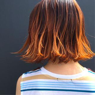 グラデーションカラー モード イルミナカラー 切りっぱなし ヘアスタイルや髪型の写真・画像