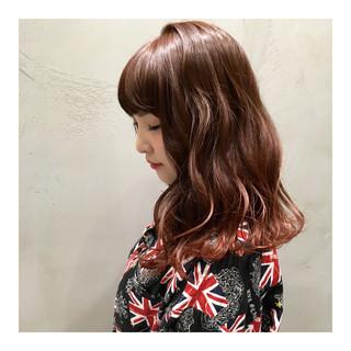 ストリート オレンジ グラデーションカラー セミロング ヘアスタイルや髪型の写真・画像
