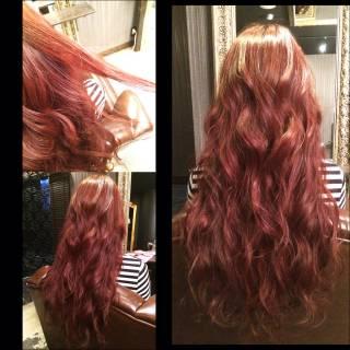 ロング ウェーブ 外国人風 ピンク ヘアスタイルや髪型の写真・画像