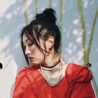 簡単ヘアアレンジ ヘアアレンジ ロング お団子 ヘアスタイルや髪型の写真・画像