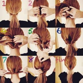 簡単ヘアアレンジ セルフヘアアレンジ ガーリー くるりんぱ ヘアスタイルや髪型の写真・画像 ヘアスタイルや髪型の写真・画像