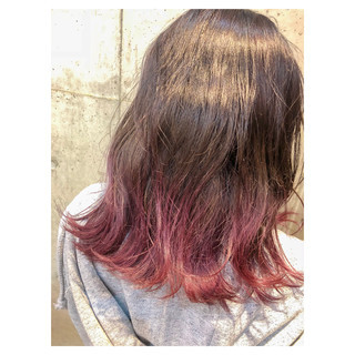 ラベンダーピンク ピンク グラデーションカラー セミロング ヘアスタイルや髪型の写真・画像