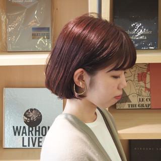 ラベンダーピンク ガーリー ボブ ピンク ヘアスタイルや髪型の写真・画像