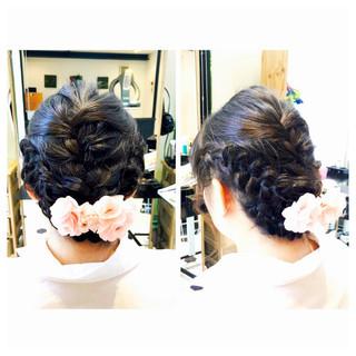 結婚式ヘアアレンジ 結婚式髪型 編み込みヘア フェミニン ヘアスタイルや髪型の写真・画像