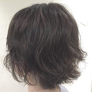 暗髪 ボブ ハイライト アッシュ ヘアスタイルや髪型の写真・画像
