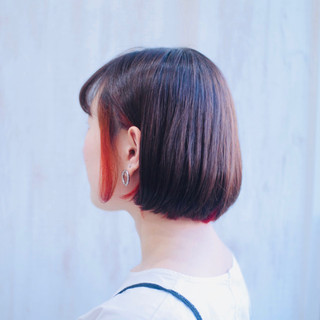 インナーカラー ボブ インナーカラーオレンジ オレンジ ヘアスタイルや髪型の写真・画像