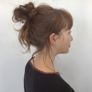 ラフ 簡単ヘアアレンジ 透明感 セミロング ヘアスタイルや髪型の写真・画像