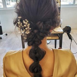 結婚式ヘアアレンジ セミロング フェミニン ロングヘア ヘアスタイルや髪型の写真・画像