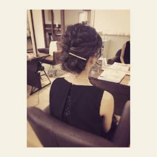結婚式 ミディアム ヘアアレンジ ナチュラル ヘアスタイルや髪型の写真・画像