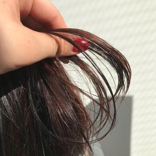 ハイライト ボブ 暖色 切りっぱなしボブ ヘアスタイルや髪型の写真・画像