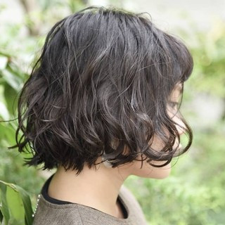 黒髪 ショートボブ パーマ ミニボブ ヘアスタイルや髪型の写真・画像