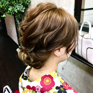 結婚式 二次会 ミディアム ヘアアレンジ ヘアスタイルや髪型の写真・画像