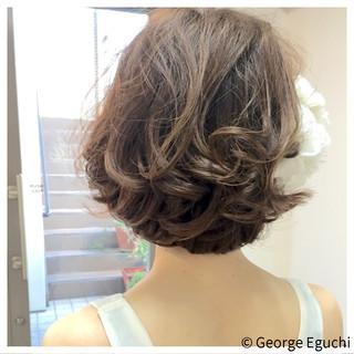 ガーリー ヘアアレンジ ショート フェミニン ヘアスタイルや髪型の写真・画像