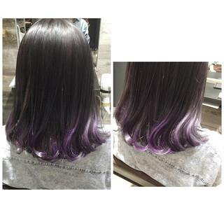 グラデーションカラー パープル ミディアム ラベンダー ヘアスタイルや髪型の写真・画像