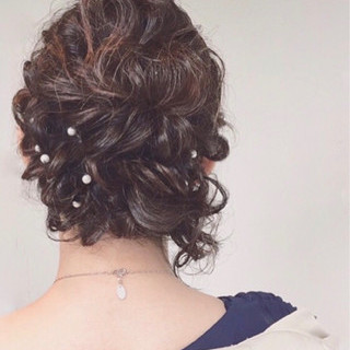ハーフアップ ショート ヘアアレンジ ミディアム ヘアスタイルや髪型の写真・画像