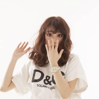 モテ髪 ガーリー ウェットヘア ミディアム ヘアスタイルや髪型の写真・画像