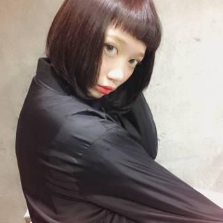 黒髪 外国人風 シースルーバング ボブ ヘアスタイルや髪型の写真・画像