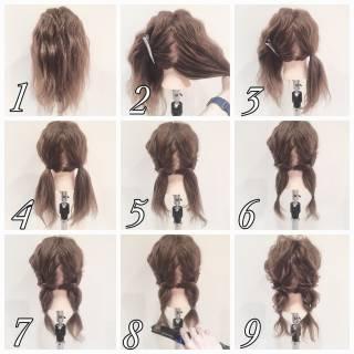 ツインテール ショート 簡単ヘアアレンジ ヘアアレンジ ヘアスタイルや髪型の写真・画像
