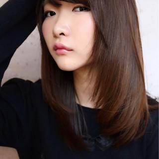 前髪あり フェミニン ナチュラル ロング ヘアスタイルや髪型の写真・画像