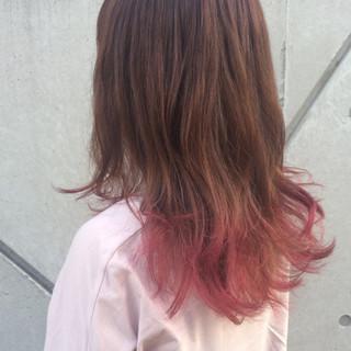 ガーリー 外国人風 ピンク ロング ヘアスタイルや髪型の写真・画像