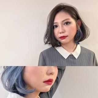 インナーカラー ナチュラル ボブ 色気 ヘアスタイルや髪型の写真・画像