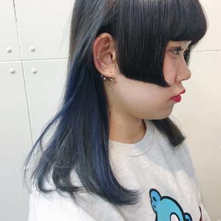姫カット セミロング インナーカラー ガーリー ヘアスタイルや髪型の写真・画像