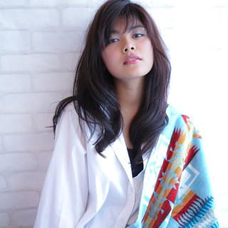 黒髪 ロング 大人かわいい 外国人風 ヘアスタイルや髪型の写真・画像