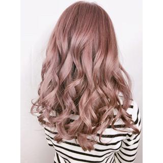 ラベンダーピンク グレージュ ロング ピンク ヘアスタイルや髪型の写真・画像