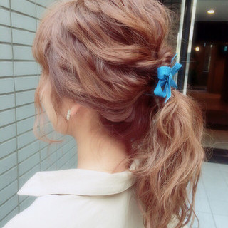 ヘアアレンジ 大人かわいい セミロング モテ髪 ヘアスタイルや髪型の写真・画像