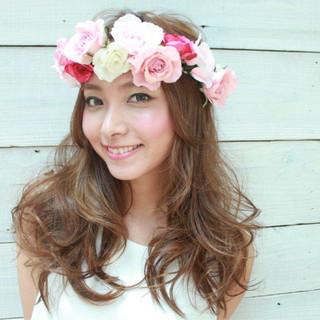 結婚式 かわいい ヘアアレンジ ロング ヘアスタイルや髪型の写真・画像