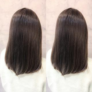 デート オフィス ミディアム 黒髪 ヘアスタイルや髪型の写真・画像