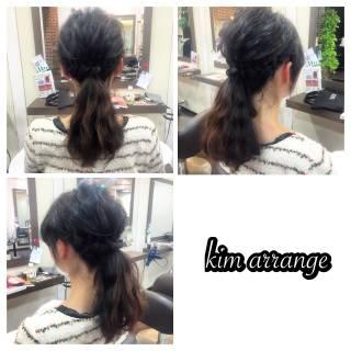 ポニーテール 簡単ヘアアレンジ ヘアアレンジ 編み込み ヘアスタイルや髪型の写真・画像