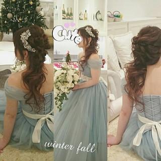 大人かわいい ドレス ゆるふわ ロング ヘアスタイルや髪型の写真・画像