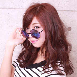 ピンク ロング フェミニン カール ヘアスタイルや髪型の写真・画像