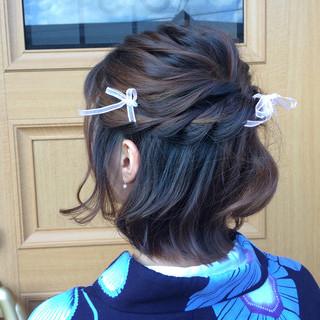 くるりんぱ ロープ編み ヘアアレンジ 和装 ヘアスタイルや髪型の写真・画像