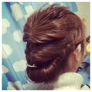 ヘアアレンジ ミディアム くるりんぱ アップスタイル ヘアスタイルや髪型の写真・画像