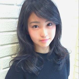 パーマ 黒髪 簡単 ブラウン ヘアスタイルや髪型の写真・画像