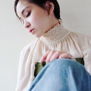 小顔 外国人風カラー 外国人風 ショート ヘアスタイルや髪型の写真・画像