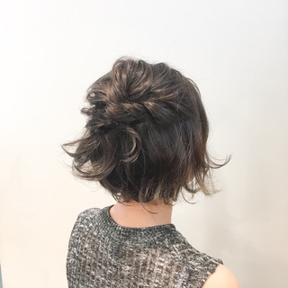 女子会 ボブ 簡単ヘアアレンジ 爽やか ヘアスタイルや髪型の写真・画像