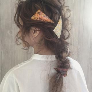 編み込み ヘアアレンジ 三つ編み セミロング ヘアスタイルや髪型の写真・画像