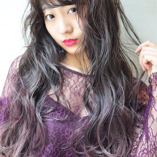 ピンク 外国人風カラー ロング ガーリー ヘアスタイルや髪型の写真・画像