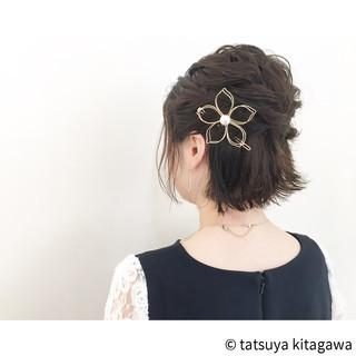 黒髪 結婚式 ボブ ハーフアップ ヘアスタイルや髪型の写真・画像 ヘアスタイルや髪型の写真・画像