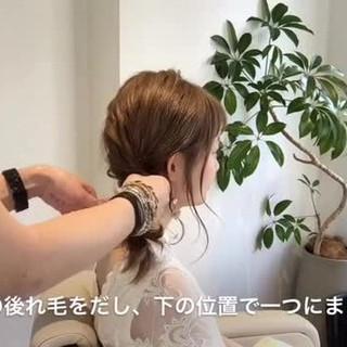 デート セミロング ヘアアレンジ ナチュラル ヘアスタイルや髪型の写真・画像