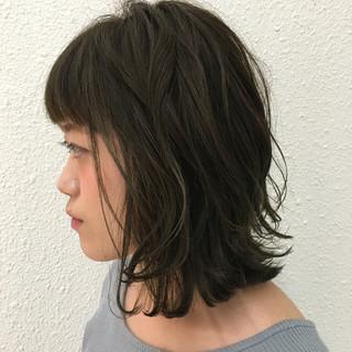暗髪 グレー ボブ フェミニン ヘアスタイルや髪型の写真・画像