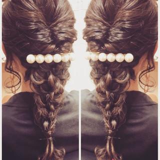 編み込み 結婚式 ロング ガーリー ヘアスタイルや髪型の写真・画像 ヘアスタイルや髪型の写真・画像