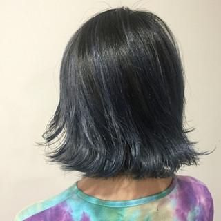 外国人風 グレー ネイビーアッシュ ボブ ヘアスタイルや髪型の写真・画像