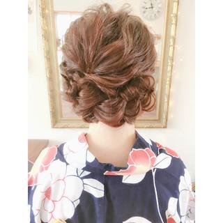 お祭り ヘアアレンジ フェミニン 編み込み ヘアスタイルや髪型の写真・画像