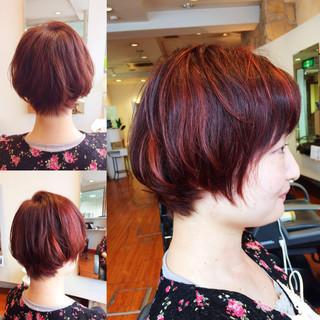 ピンク 大人女子 ハイライト ショート ヘアスタイルや髪型の写真・画像