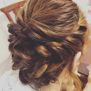 結婚式 ヘアアレンジ 女子会 フェミニン ヘアスタイルや髪型の写真・画像